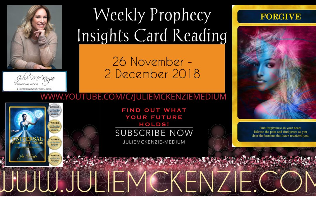 Weekly Prophecy Insights Card Reading 26th November – 2nd December 2018 with Julie McKenzie
