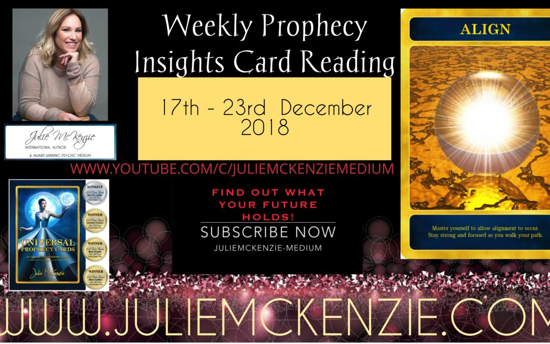 Weekly Readings 17th – 23rd December 2018 with Julie McKenzie